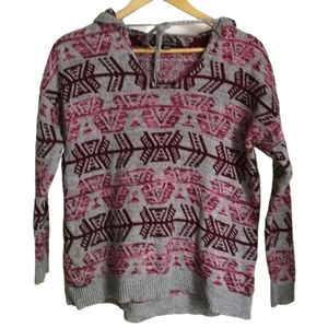 3/30$ AEO Southwestern Grey & Pink Cotton Hooded Thin Knit Sweater Size Small